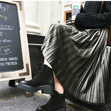 Velvet Skirt High-Waisted Office Lady Fashion Pleated Skinny Female And Autumn Winter