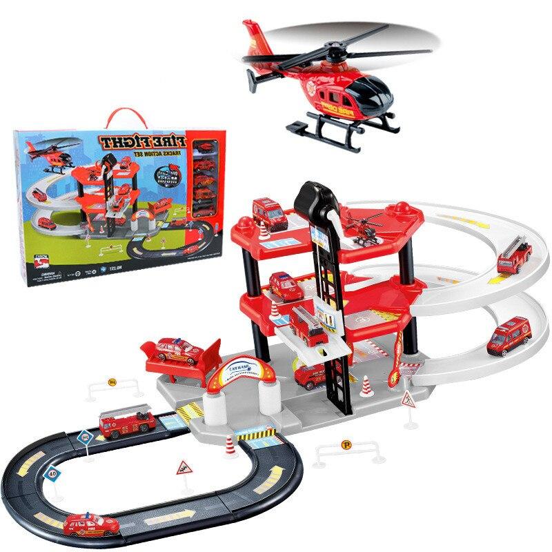 Piste de voiture magique enfants Simulation éducative assemblé piste alliage camion de pompier trois couches Simulation Parking cadeau garçon