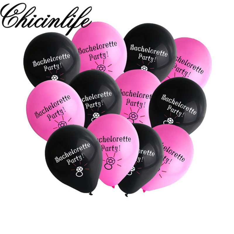 chicinlife 12pc bachelorette party latex balloons hen night party bridal shower wedding photo props ideas decor balloon supplies in ballons accessories