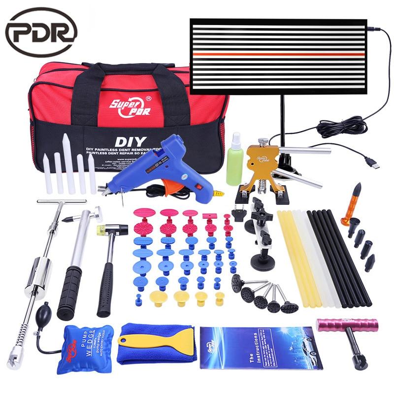 Kit di strumenti PDR Paintless Auto Body dent Strumenti di Riparazione set strumento per Rimuovere Ammaccature Auto Strumento di Riparazione Dent Puller Colla pistola slide Hammer