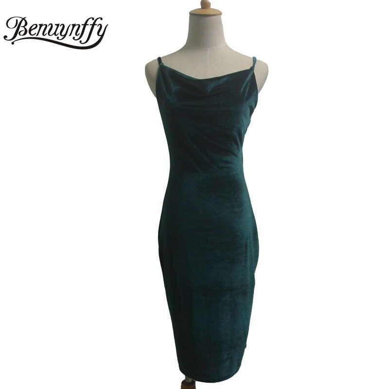 Benuynffy/женские сексуальные платья-миди с бретельками, элегантные однотонные бархатные вечерние платья с открытой спиной, цельнокроеное облегающее платье-карандаш Q856