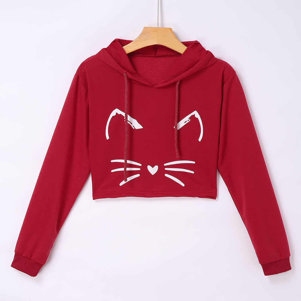 ... 3D Cat ears Print Short hooded Sweatshirt Women Sexy Casual Long Sleeve  Hoodies Blouse cropped Top ... becd434560f2
