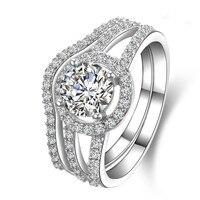 1 карат simulatant Diamant кольца обручальные кольца полос для женщин Серебряное кольцо Анель Anillo Anneau (bb)