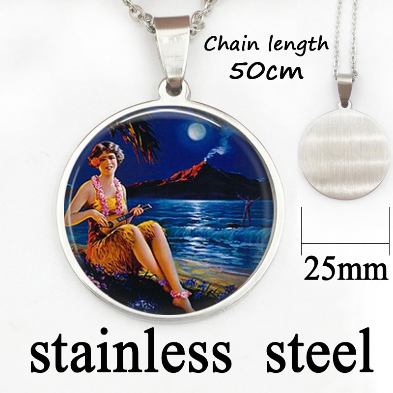 Handmade Fine Jewelry Silver Plated Chain 25 mm Glass Dome Pendant Hawaiian Hula Girl with Ukelele and Surfer Necklace Pendant