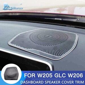 Airspeed Stainless Steel for Mercedes Benz W205 C180 C200 GLC C260 Accessories Interior Trim Car Dashboard Audio Speaker Cover
