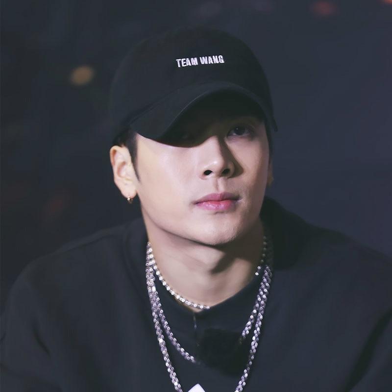 6a2d796e60c Star Jackson Wang Team Wang Letter Embroidery Baseball Cap Rap Leisure  Black White Hats Harajuku Hat Hip-Hop