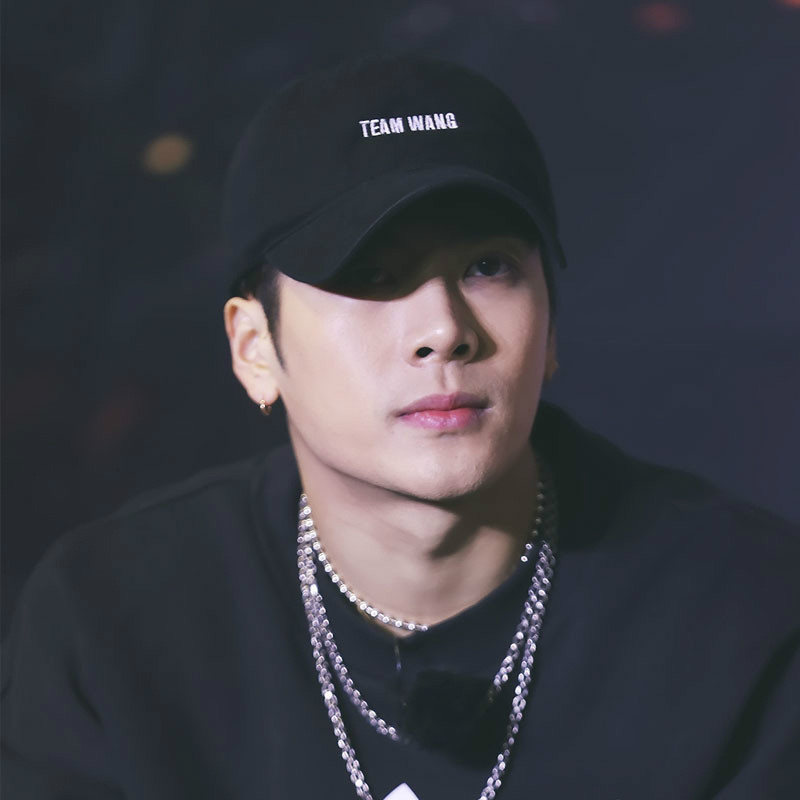 Star Jackson Wang Team Wang Letter Embroidery   Baseball     Cap   Rap Leisure Black White Hats Harajuku Hat Hip-Hop
