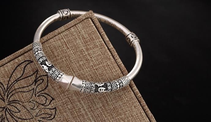 JOOCHEER Sterling S999 999 silver Bangle ethnic vintage trendy bracelet size adjustable JOOCHEER Sterling S999 999 silver Bangle ethnic vintage trendy bracelet size adjustable