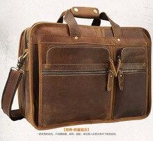Men Briefcase Handbags Cow Leather 2018 Male Vintage Travel Large Capacity 17 Laptop Shoulder Crossbody Business
