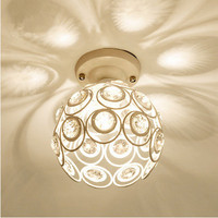 Fashion Crystal White Black Iron Ceiling Lights American Modern Exquisite E27 LED Lamp For Balcony Corridor