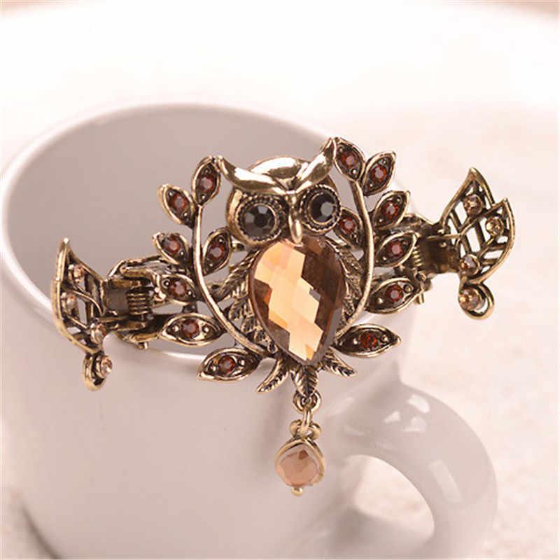 Cute 5 Color Crystal Bride Wedding Hair Accessories Owl Hair Claws Metal Crab  Clip For Women 694b901c415e