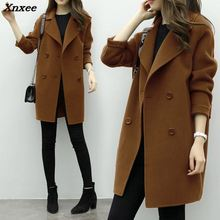 Xnxee New Thin Wool Blend Coat Women Long Sleeve Turn-down Collar Outwear Jacket Casual Autumn Winter Elegant Overcoat 6Q0475