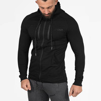 Autumn Winte Mens Solid Hoodies Fitness Bodybuilding Sweatshirts Fashion Casual Hooded Zipper Slim Jacket Male Cotton
