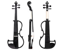 Full Size 4/4 Silent Electric Violin Solid Wood Basswood Panel Aluminum Alloy String With Headphone Case Rosin Connect Line VL02