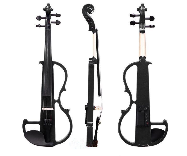 Full Size 4/4 Silenzioso Violino Elettrico di Legno Massello Pannello Basswood Lega di Alluminio Stringa Con La Cuffia Caso Colofonia Collega La Linea VL02