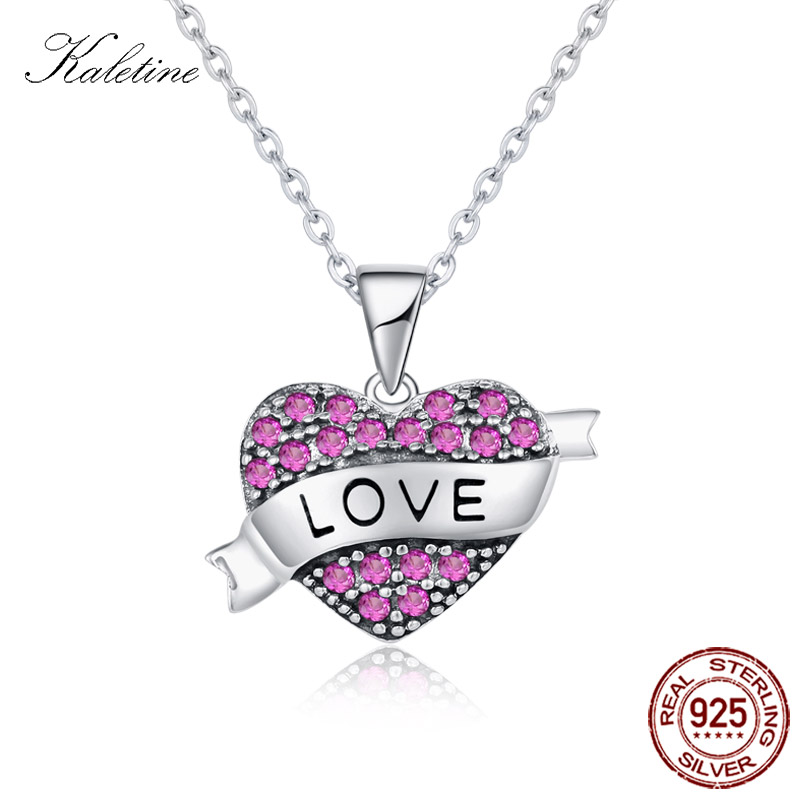Love Rosy Heart Silver 925 Pendant Necklaces Love Charm Necklace Mail Heart Pendants Silver Jewelry for Women Collars KLTN048