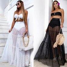 Новинка, Горячая Летняя мода, последняя женская пикантная юбка с высокой талией, прозрачная длинная юбка макси в горошек