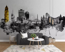 beibehang Nordic custom size wall paper minimalist abstract ink art urban architecture background papel de parede 3d wallpaper