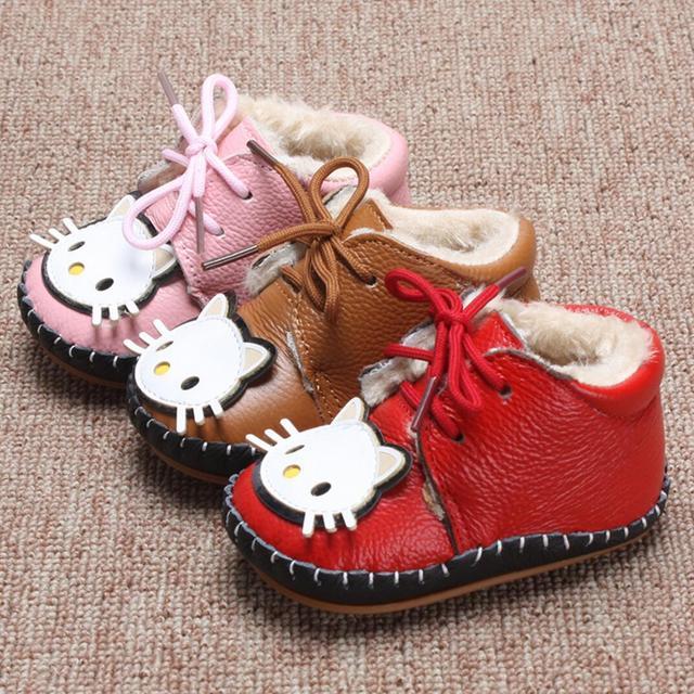 Nuevos 2016 botas de nieve botas zapatos de bebé de los niños zapatos de invierno zapatos para niñas Envío Libre del Zurriago del cuero Genuino Mantener caliente 1-804