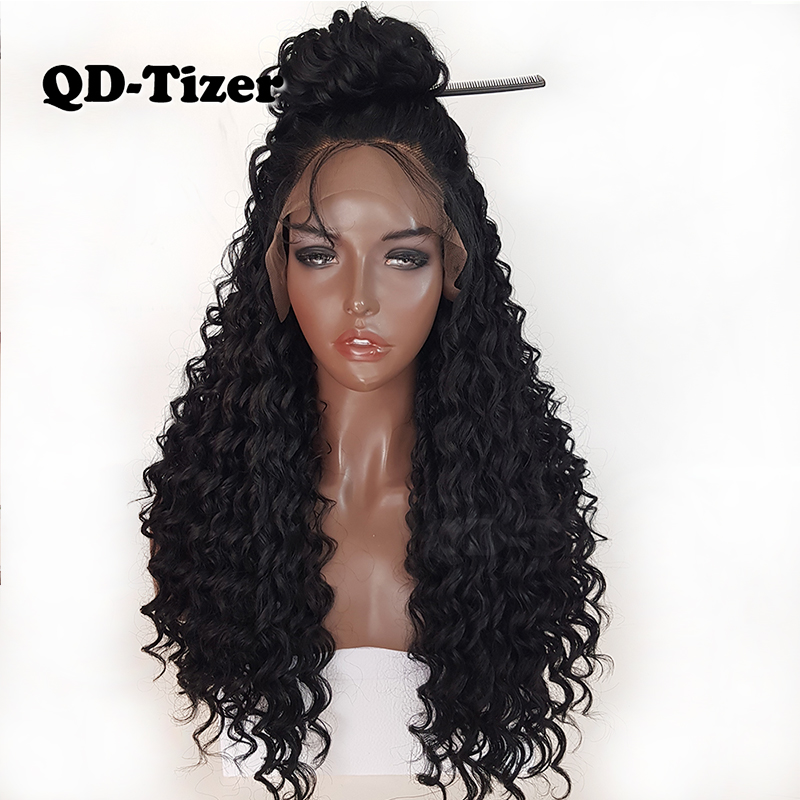 QD Tizer Kinky Curly Wigs Glueless Long Synthetic Lace Front Wigs 180 Density Black Hair Baby