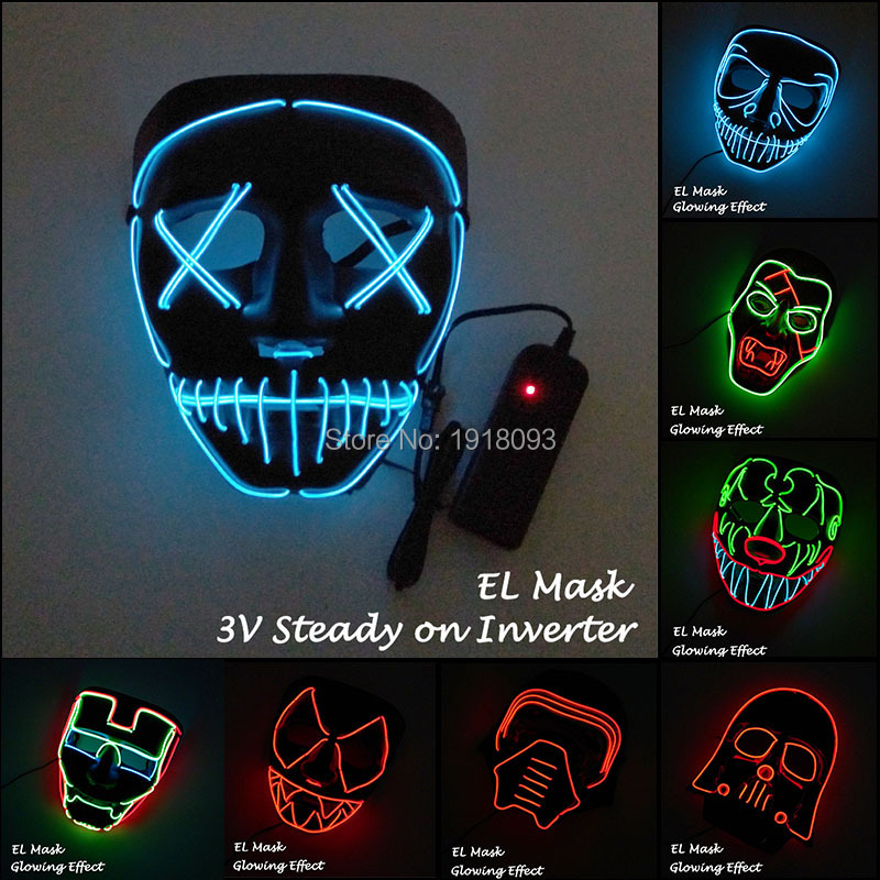 10 Styles Available EL Wire Mask LED Strip Light Mask Glowing Party Mask for Halloween Scary Party Decoration
