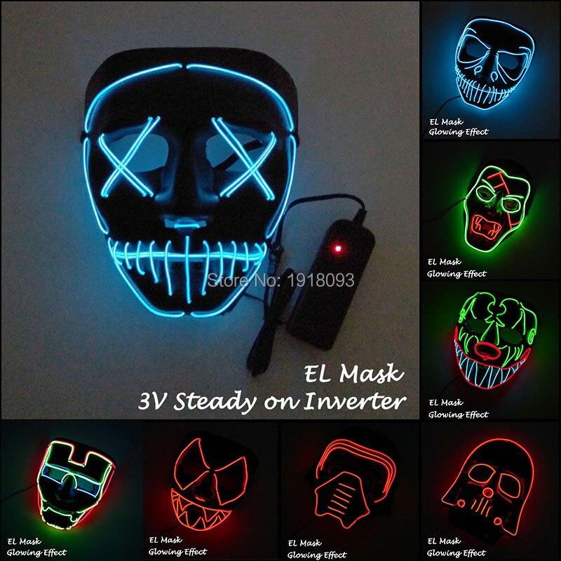 10 arten Vorhanden EL Draht Maske LED Streifen Licht Maske Glowing ...
