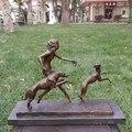 Estudio de decoración artesanía escultura de bronce Europea como la belleza y la clásica decoración Del Equipamiento Casero regalo perro de caza