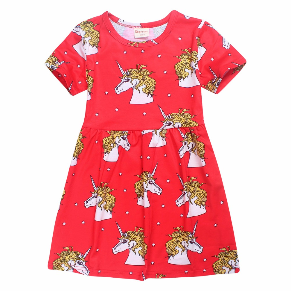 Girls Dress Cerise Unicorn Star School Dress Red Unicorn Star princess party Dress White for girls kids clothing bobo choses car dolls charcoal activated carbon simulation dog