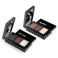 3 Colors Brown Black Eye Shadow Powders With Mirror Brush Eye Brow Makeup Eyebrow Powder Waterproof Eyebrow Wax Palette FM88