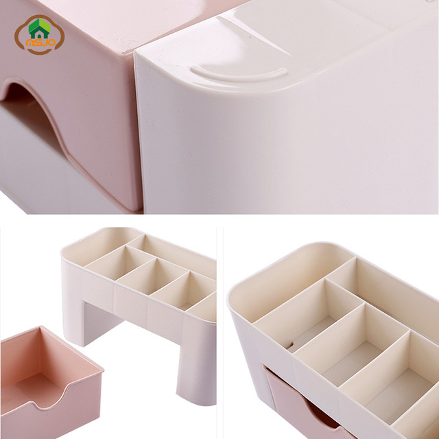 Msjo  Makeup Organizer Box Jewelry Necklace Nail Polish  Earring Plastic Makeup Box  Home  Desktop Organizer For Cosmetics