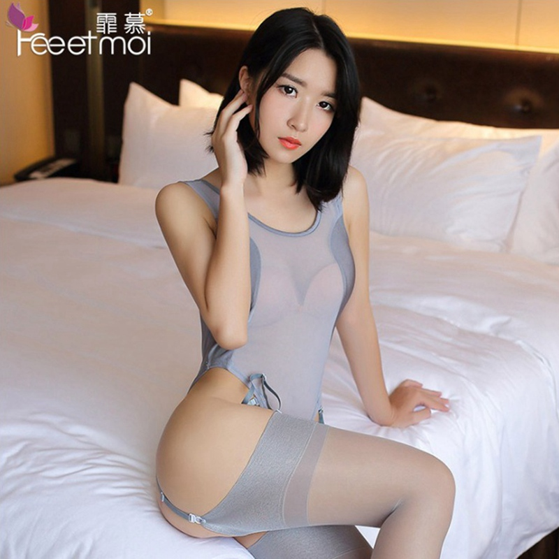 Sexy Ice silk Backless perspective open crotch suspenders sex lingerie pajamas bodysuit crotchless bodysuit underwear+stockings