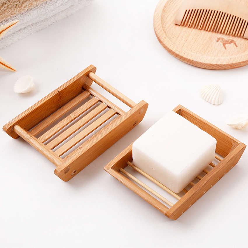 สบู่กล่องคอนเทนเนอร์องค์กรไม้สบู่ถาดใส่จานจัดเก็บข้อมูลแร็คห้องน้ำ Handmade ไม้ไผ่ธรรมชาติสบู่กล่อง