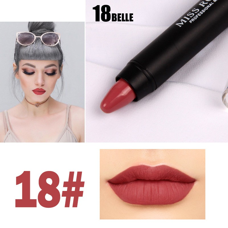 MISS ROSE Lipstick Pencil Cosmetics Matte Lips Pigment Nude Lipstick Long Lasting Matte Lipstick Pencil Makeup in Lipstick from Beauty Health