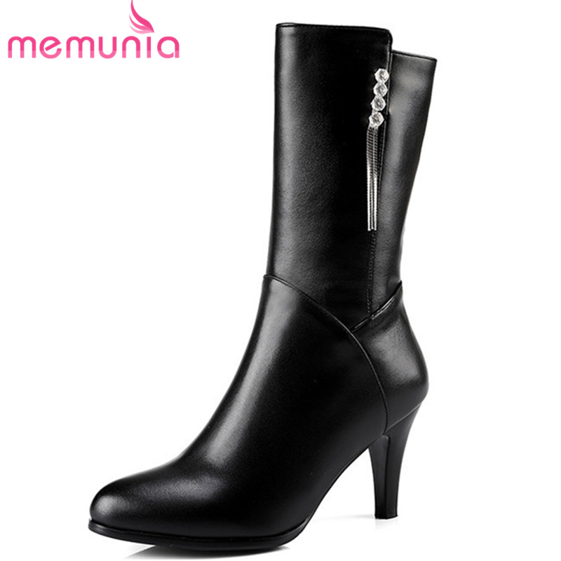 MEMUNIA 2020 top quality genuine leather boots women autumn winter boots sexy stiletto heels fashion shoes lady mid calf boots