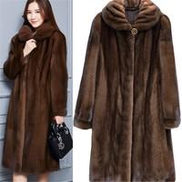 Faux Mink Fur Coat Women Winter New Fake Fur Coats For Women Long Artificial Fur Imitation Fur Jackets Plus Size 4Xl A5009