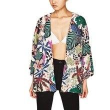 BB&KK women vintage floral loose kimono shirts oversized open stitch coat ladies