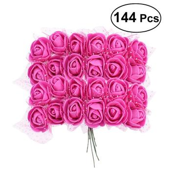 144pcs Artificial Foam Rose Flowers With Crystal Lace Wedding Bridal Party Bouquet Table Centerpiece DIY Craft Garland Home rose