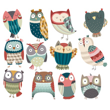 Cute Colorful Owl Patch Iron On Clothes Badges Diy Accessory New Design Heat Transfer Clothing Deco Washable