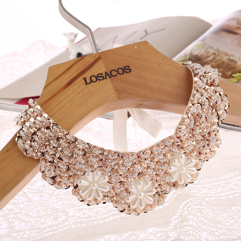 Fashion Popular 3 Flowers Fake Collar Choker Necklace Sequined Beads Plant Pattern For Women Girl Statement Necklace Jewerly ...