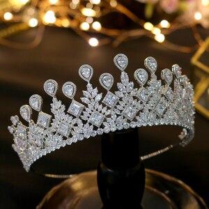 Image 2 - Asnora 盛大な結婚式花嫁のクラウンエレガントな zincons 髪ティアラ王冠アクセサリー
