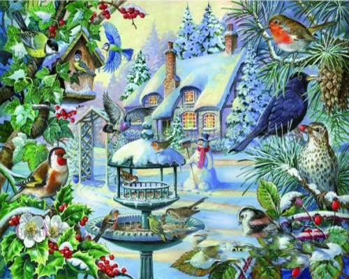 5d diamond embroidery winter birds on snow 5d of the diamond painting mosaic the picture pastes diamond embroidery Animal