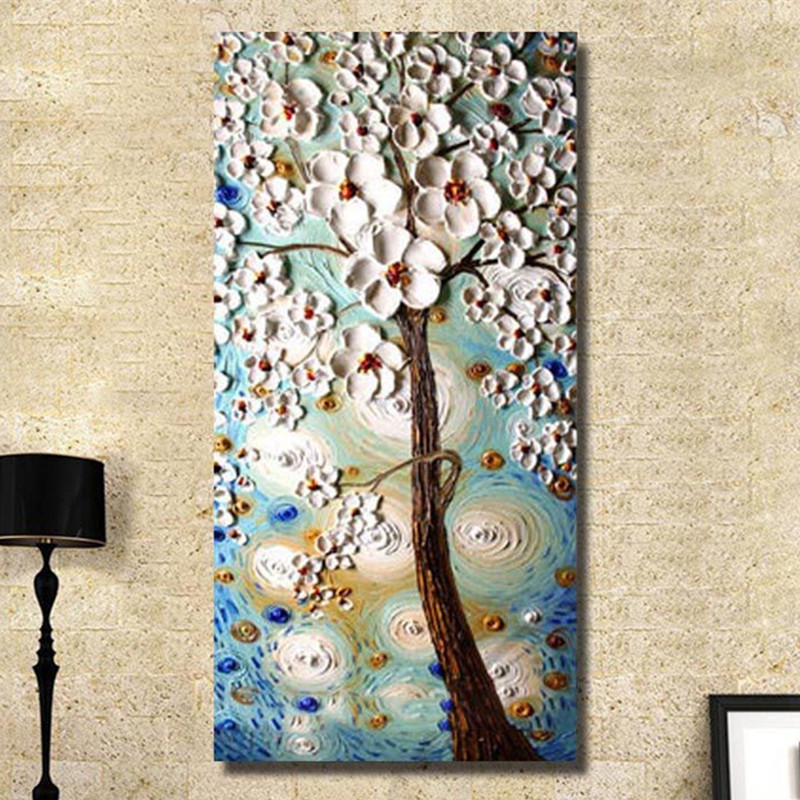 High Quality Handpainted Abstract Flower Oil Paintings Modern Home Decor Art Pictures Large Knife Flowers Floral Canvas Painting-in Painting & Calligraphy from Home & Garden    1