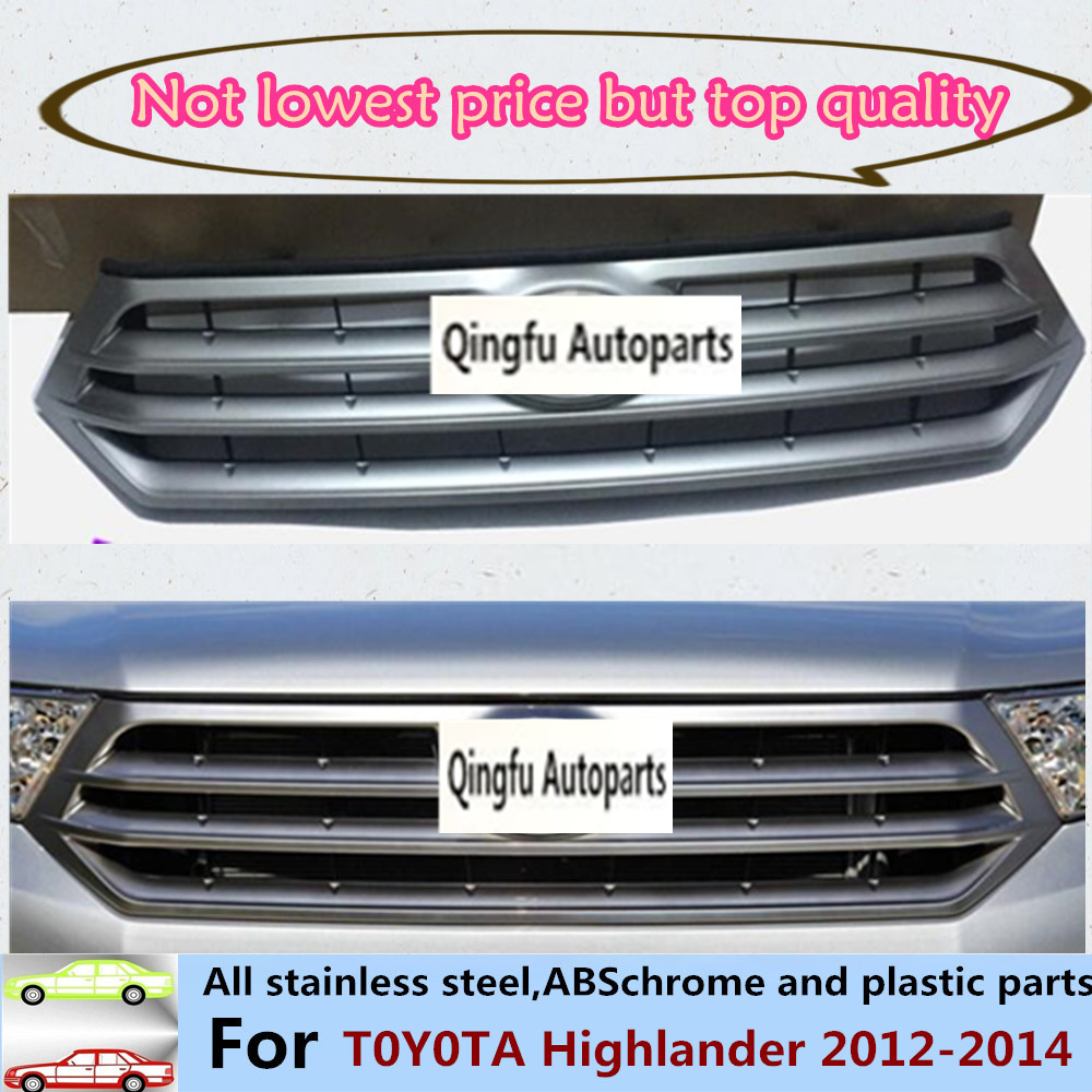 Car body abs chrome license plate trim racing grid grill grille hoods panel frame moulding 1pcs for toyota highlander 2012 2014