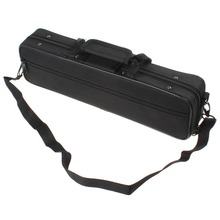 SLADE Lightweight Black Cloth Flute Case 390 x 110 x 60mm with Shoulder Strap for All Flute Players