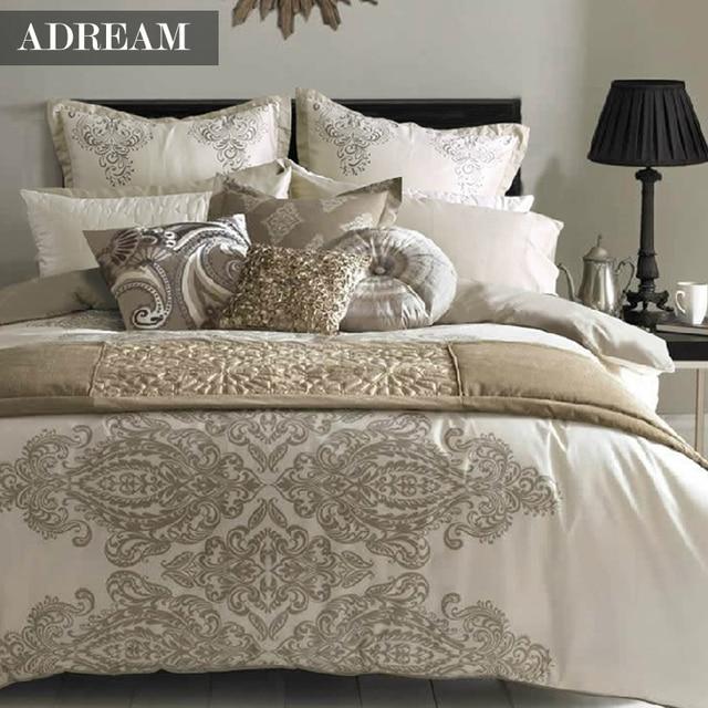 Adream Bedding Set Duvet Cover Set European Style Cream Home Textiles Pillowcase 4pcs Queen King Bed Size Brown Bed Sheet
