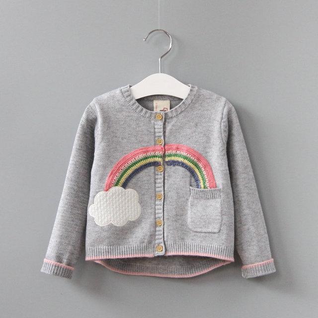 Y731400242 Apliques Arco Iris Al Por Menor 2017 Nuevas Chicas Chaqueta de Punto Sólido de Un Solo Pecho Suéter de la Muchacha Ropa de La Muchacha Lolita