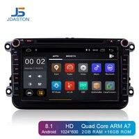 JDASTON 2 Din Android 8,1 Автомобильный мультимедийный радио, DVD, GPS плеер для Volkswagen VW Passat B6 CC b7 Поло Гольф 4 5 Tiguan Jetta Бора