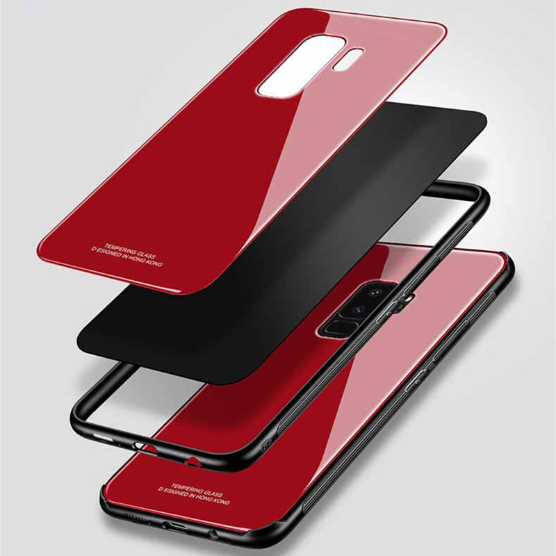 Luxury Tempered Glass Case For Samsung Galaxy S8 S9 Plus Note 8 Hard Back Cover Soft TPU Silicone Bumper On For Samsung S 9 Plus in Fitted Cases from Cellphones Telecommunications
