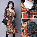 Inverno Floral Com Capuz Quente Longo Coats Engrosse Algodão-acolchoado Outwear Solto Jaqueta de Impressão de Algodão de Linho de Algodão Longo Casaco