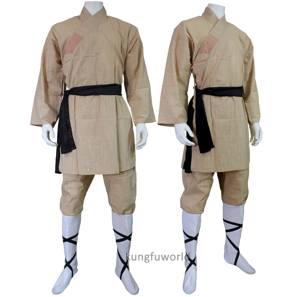 High Quality Beige Cotton Shaolin Monk Training Suit Martial Arts Tai Chi Wing Chun Kung Fu Uniform Karate Takwondo Gis